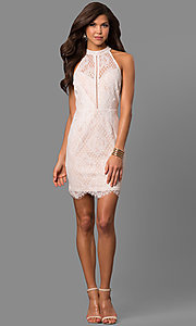 Image of illusion off-white lace short graduation dress. Style: AC-CD10576BS Detail Image 1