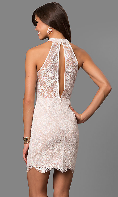 Image of illusion off-white lace short graduation dress. Style: AC-CD10576BS Back Image