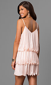 Image of tiered short wedding-guest dress in pale blush pink. Style: AC-DA23316R Back Image