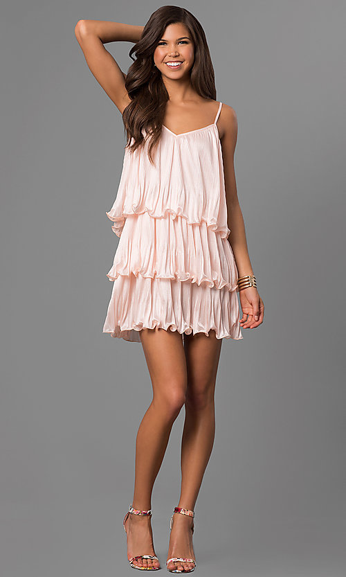 Image of tiered short wedding-guest dress in pale blush pink. Style: AC-DA23316R Detail Image 1