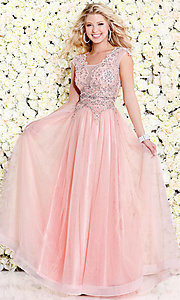 Long Sheer Pink Scoop Neck Prom Dress