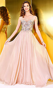 Chiffon Pink Illusion Sweetheart Prom Dress