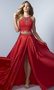 Long Two-Piece Prom Dress with Lace Top