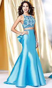 Long Blue Two Piece High Neck Prom Dress