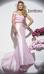 Pink Two-Piece Long Prom Dress