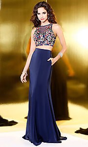 Navy Blue Two Piece Embroidered Prom Dress