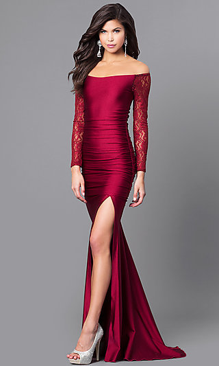 Long Off-the-Shoulder Prom Dress with Long Sleeves