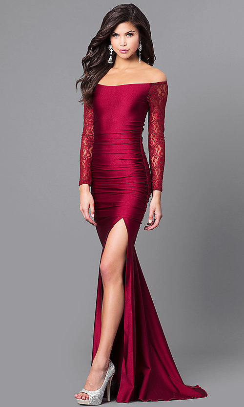 9b3f8e70027b Off-Shoulder Long Prom Dress with Long Sleeves