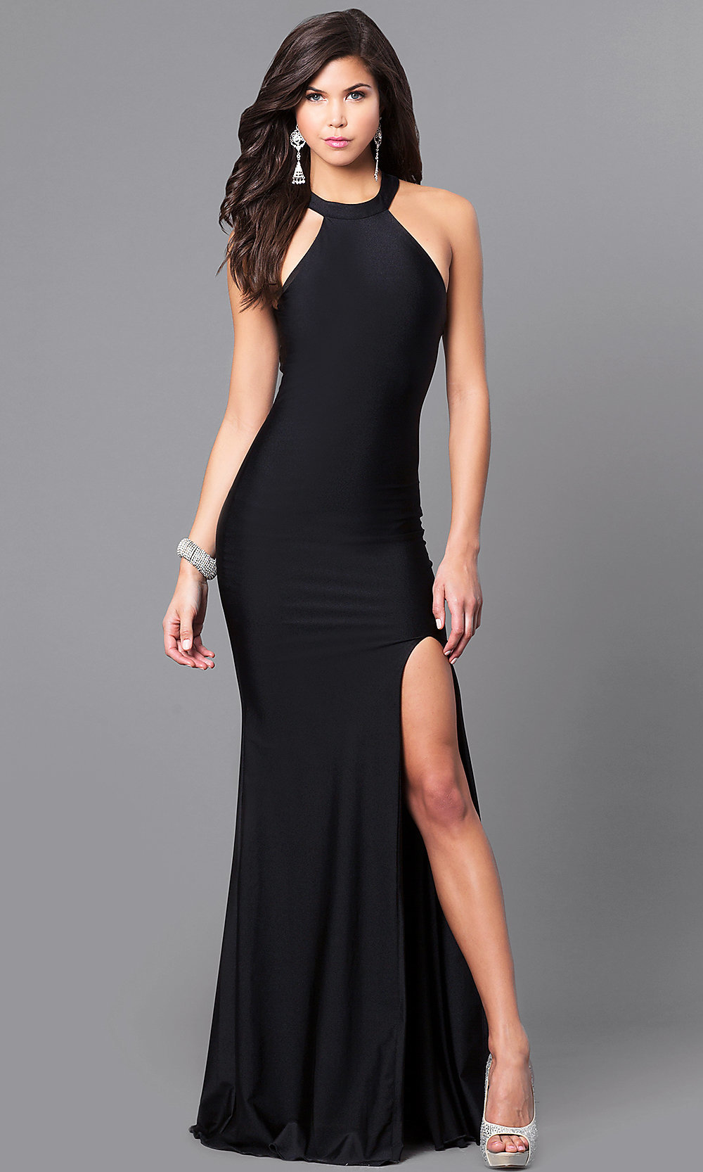 High Neck Prom Dress With Cut Out Back