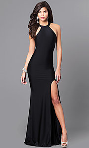 High Neck Prom Dress with Cut Out Back and Side Slit