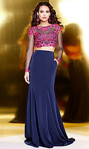 Navy Two Piece Prom Dress with Long Sleeves