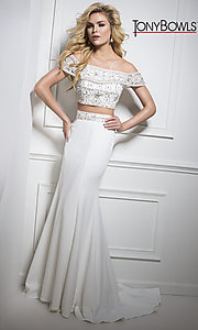 White Two-Piece Prom Dress