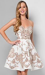 Short Beaded Ivory Fit and Flare Prom Dress