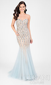 Strapless Lace Beaded Prom Dress
