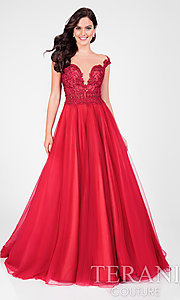 Long Prom Dress with Illusion Neckline