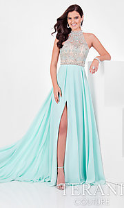 High-Neck Prom Dress with Beaded Bodice