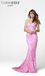 Lace Prom Dress with Illusion Back