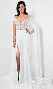 Ivory Illusion V-Neck Prom Dress with a Cape