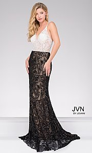 White & Black Illusion Long Sequin Print Gown