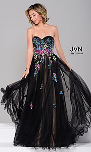 Black Long Prom Ball Gown with Floral Appliques