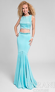 Long Fitted High Neck Two Piece Prom Dress