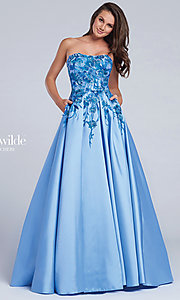 Blue A-Line Prom Dress with Beaded Lace Details
