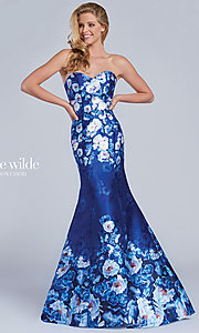 Long Blue Print Strapless Mermaid Prom Dress