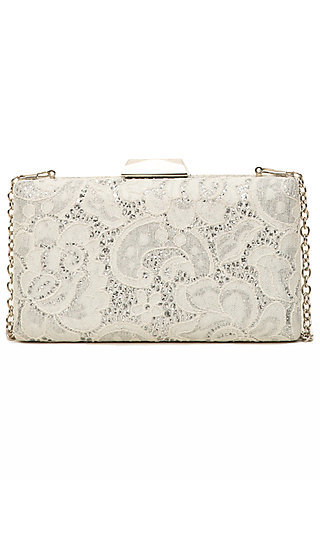 Lace Clutch with a Chain Shoulder Strap
