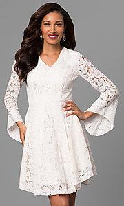 Short Lace Graduation Dress with Long Sleeves