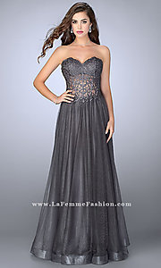 Tulle Prom Dress with a Sheer Embroidered Bodice