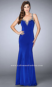 V-Neck Jersey Prom Dress by La Femme