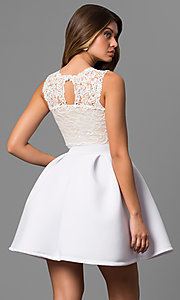 Image of lace-bodice graduation dress with high neck. Style: CL-44469 Back Image