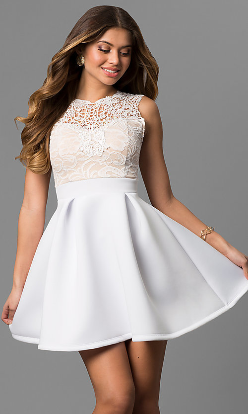 Image of lace-bodice graduation dress with high neck. Style: CL-44469 Front Image