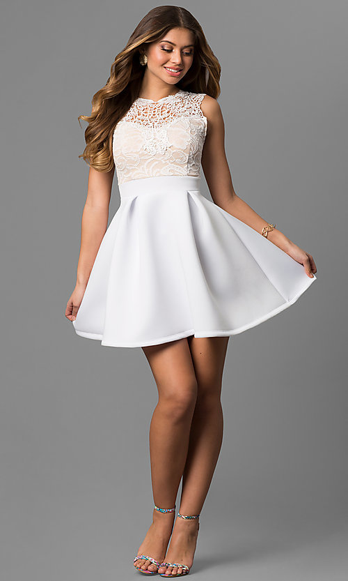 Image of lace-bodice graduation dress with high neck. Style: CL-44469 Detail Image 1
