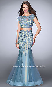 Two Piece Mermaid Prom Dress with Cap Sleeves