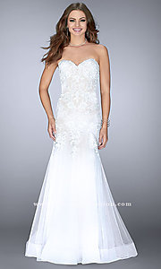 Open Back Strapless Prom Dress with Lace Appliques