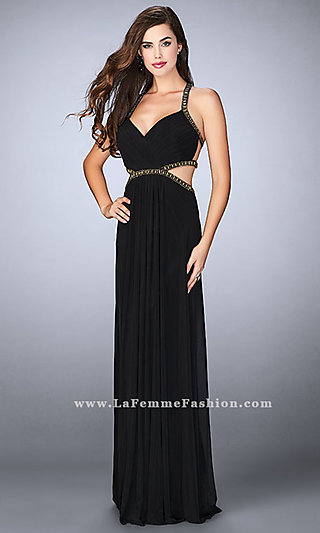 Long Empire Waist Prom Dress with Side Cut Outs
