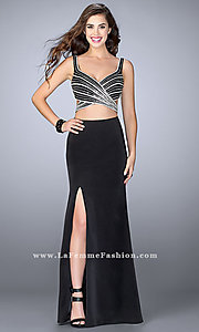 Long Mock Two Piece Prom Dress with Cut Outs