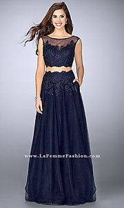 Two Piece Illusion Sweetheart A-Line Prom Dress