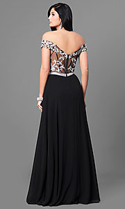 Image of off-the-shoulder long prom dress with lace applique. Style: DQ-9701 Back Image