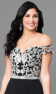 Image of off-the-shoulder long prom dress with lace applique. Style: DQ-9701 Detail Image 1