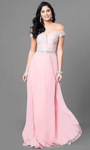 Image of off-the-shoulder long prom dress with lace applique. Style: DQ-9701 Detail Image 2