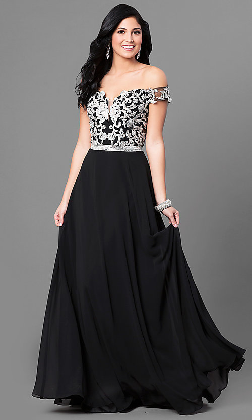 Image of off-the-shoulder long prom dress with lace applique. Style: DQ-9701 Front Image