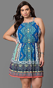 Short Casual Plus Size Print Party Dress