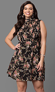 Plus Size High Neck Floral Print Short Party Dress
