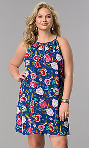 Short Plus Size Floral Print Casual Shift Dress