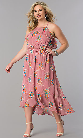 Plus-Size High-Low Casual Print Maxi Dress