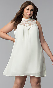 Short High-Neck Plus-Size Graduation Party Dress