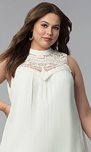 Image of short high-neck plus-size graduation party dress. Style: AS-i738565e4x Detail Image 1