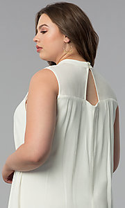Image of short high-neck plus-size graduation party dress. Style: AS-i738565e4x Detail Image 2